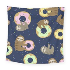 Cute Sloth With Sweet Doughnuts Square Tapestry (large) by Sobalvarro