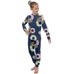 Cute Sloth With Sweet Doughnuts Kids  Long Sleeve Set  by Sobalvarro