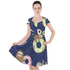 Cute Sloth With Sweet Doughnuts Cap Sleeve Midi Dress by Sobalvarro