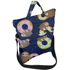 Cute Sloth With Sweet Doughnuts Fold Over Handle Tote Bag by Sobalvarro