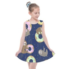 Cute Sloth With Sweet Doughnuts Kids  Summer Dress by Sobalvarro
