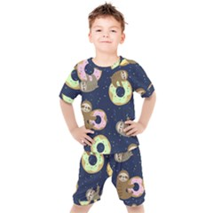 Cute Sloth With Sweet Doughnuts Kids  Tee And Shorts Set by Sobalvarro