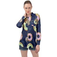 Cute Sloth With Sweet Doughnuts Long Sleeve Satin Shirt by Sobalvarro