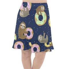 Cute Sloth With Sweet Doughnuts Fishtail Chiffon Skirt by Sobalvarro