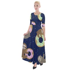 Cute Sloth With Sweet Doughnuts Half Sleeves Maxi Dress by Sobalvarro
