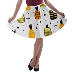 Pineapples A-line Skater Skirt by Sobalvarro