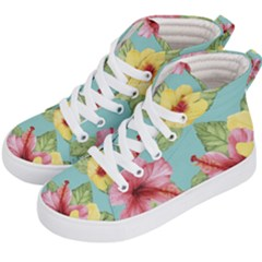 Hibiscus Kids  Hi-top Skate Sneakers by Sobalvarro