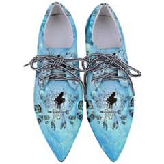 Piano With Feathers, Clef And Key Notes Women s Pointed Oxford Shoes