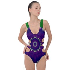 Mandala In Leaves,on Beautiful Leaves In Bohemian Style Side Cut Out Swimsuit