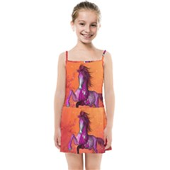 Wonderful Fantasy Horse In A Autumn Landscape Kids  Summer Sun Dress by FantasyWorld7