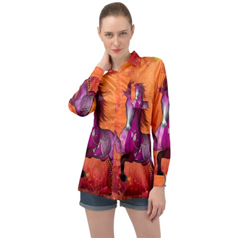 Wonderful Fantasy Horse In A Autumn Landscape Long Sleeve Satin Shirt by FantasyWorld7
