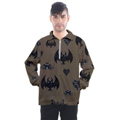 Cute Bat With Hearts Men s Half Zip Pullover
