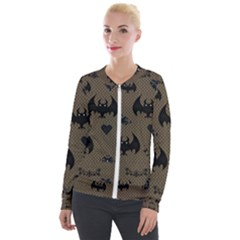 Cute Bat With Hearts Velour Zip Up Jacket by FantasyWorld7