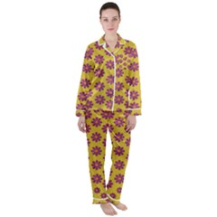 Fantasy Fauna Floral In Sweet Yellow Satin Long Sleeve Pyjamas Set