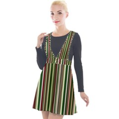 Green Pinstripe Plunge Pinafore Velour Dress by designbywhacky