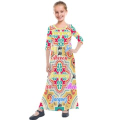 Floral Kids  Quarter Sleeve Maxi Dress by ABjCompany