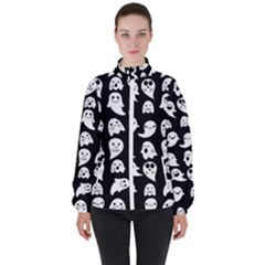 Cute Kawaii Ghost Pattern Women s High Neck Windbreaker