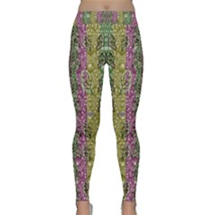 Leaves Contemplative In Pearls Free From Disturbance Classic Yoga Leggings by pepitasart