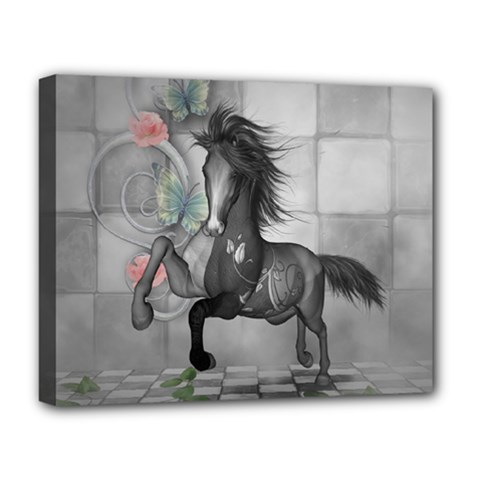 Wonderful Black And White Horse Deluxe Canvas 20  X 16  (stretched) by FantasyWorld7