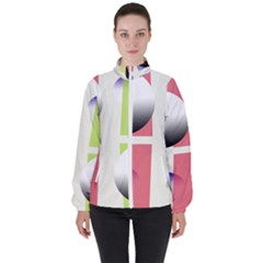 Retro Sphreres And Lines Women s High Neck Windbreaker