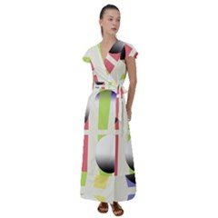Retro Sphreres And Lines Flutter Sleeve Maxi Dress