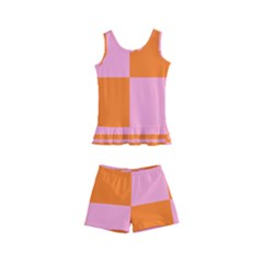 Mod Pink And Orange Squares Kids  Boyleg Swimsuit by snowwhitegirl