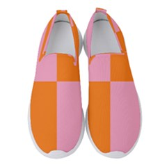 Mod Pink And Orange Squares Women s Slip On Sneakers