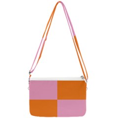 Mod Pink And Orange Squares Double Gusset Crossbody Bag