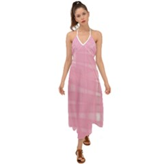 Pink Ribbon Halter Tie Back Dress