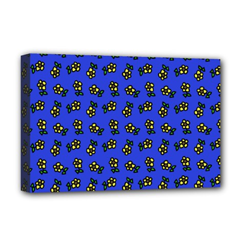 Daisy Royal Blue Deluxe Canvas 18  X 12  (stretched)