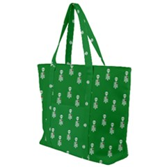 Skeleton Green Background Zip Up Canvas Bag