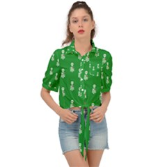 Skeleton Green Background Tie Front Shirt