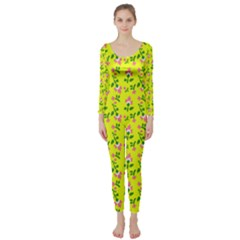 Carnation Pattern Yellow Long Sleeve Catsuit by snowwhitegirl