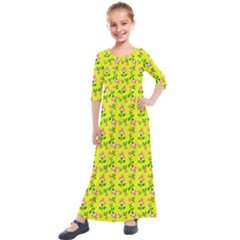 Carnation Pattern Yellow Kids  Quarter Sleeve Maxi Dress by snowwhitegirl