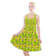 Carnation Pattern Yellow Halter Party Swing Dress