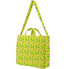 Carnation Pattern Yellow Square Shoulder Tote Bag by snowwhitegirl