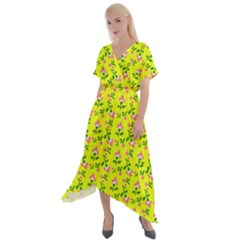 Carnation Pattern Yellow Cross Front Sharkbite Hem Maxi Dress