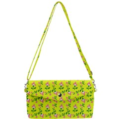 Carnation Pattern Yellow Removable Strap Clutch Bag