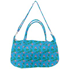 Carnation Pattern Blue Removal Strap Handbag