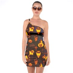 Funny Halloween Design One Soulder Bodycon Dress by FantasyWorld7