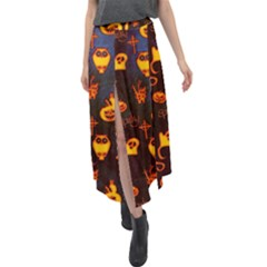 Funny Halloween Design Velour Split Maxi Skirt by FantasyWorld7