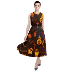 Funny Halloween Design Round Neck Boho Dress