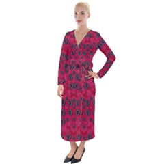 The Dark Moon Fell In Love With The Blood Moon Decorative Velvet Maxi Wrap Dress by pepitasart
