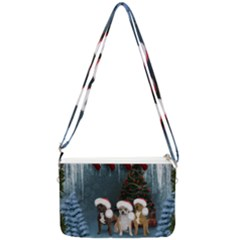 Christmas, Cute Dogs With Christmas Hat Double Gusset Crossbody Bag