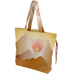 Twilight Mountain Landscape Sky Drawstring Tote Bag