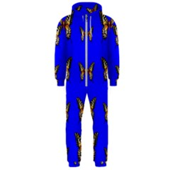 Butterfly Pattern Blue Insects Hooded Jumpsuit (men)  by Vaneshart