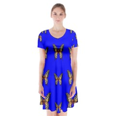 Butterfly Pattern Blue Insects Short Sleeve V Neck Flare Dress