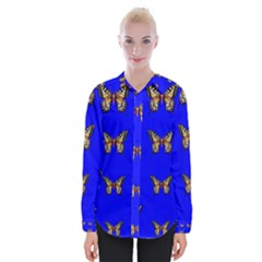 Butterfly Pattern Blue Insects Womens Long Sleeve Shirt