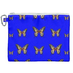 Butterfly Pattern Blue Insects Canvas Cosmetic Bag (xxl)