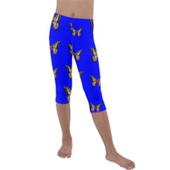 Butterfly Pattern Blue Insects Kids  Lightweight Velour Capri Leggings